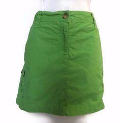 """Women's Lands"""" End Green Cargo Short Skort with Pockets Size 12 #LandsEnd #Skort"""