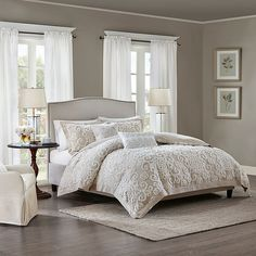 Create a cozy look in your bedroom with the classic Harbor House Suzanna Comforter Set. Dressed in a medallion and scroll pattern created from tufted embroidery, this elegant spread is the perfect addition to any room's décor. Taupe Bedroom, Taupe Bedding, Master Bedroom Design, Home Decor Bedroom, Master Bedroom Decorating Ideas, Luxury Bedding, Bedding Master Bedroom, Master Bedroom Color Ideas, Master Bedroom Makeover