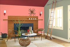Look at the paint color combination I created with Benjamin Moore. Via @benjamin_moore. Wall: Coral Gables 2010-40; Side Wall: Louisburg Green HC-113; Trim: Windham Cream HC-6; Ceiling: Raspberry Truffle 2080-10.