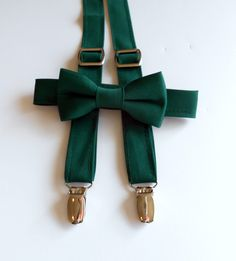 Hunter Green Bowtie and Suspenders Set