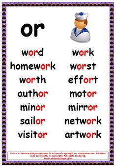 Phonics Poster – or Words 1 Phonics Reading, Teaching Phonics, Phonics Activities, Kindergarten Reading, Teaching Reading, Learning, English Phonics, Teaching English, English Words