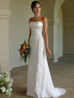 Classic Simple White A Line Strapless Beading Wedding Dresses