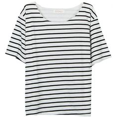 Short Sleeve O Neck Stripe Casual Cotton T-shirt (12 AUD) via Polyvore featuring tops, t-shirts, short sleeve t shirt, white tees, print t shirts, white stripes t shirt and white cotton tee