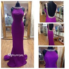 Goregous Persian Plum Beaded Jewel Neck Backless Fitted Formal Gown