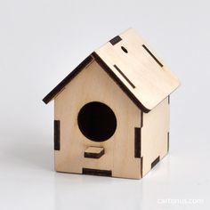 Birdhouse of plywood 3mm. Height 60mm. Vector model ready for laser cut.