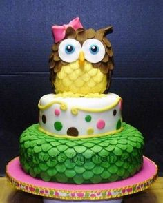 NICE OWL CAKE, this is for my friend Stacy! Pretty Cakes, Beautiful Cakes, Amazing Cakes, Cupcakes, Cupcake Cakes, Fruit Cakes, Owl Cake Birthday, Owl Cakes, Ladybug Cakes