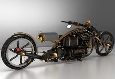 This custom chopper design has the brassy spunk of Steampunk, and going by the images, a powerful motor to propel it. Named Black Widow, the renderings have been created by Solifague Design. Via: Solif, Sport and Motor Concept Motorcycles, Custom Motorcycles, Custom Bikes, Vintage Motorcycles, Steampunk Motorcycle, Motorcycle Style, Motorcycle Helmets, Steampunk Gadgets, Moto Style