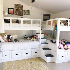 Decorating Ideas For Girls Bedrooms – 5 Age Groups – 5 Ideas This fun bunk room was sent in from Kelly Moore – Girls Room Furniture Bunk Bed Rooms, Bunk Beds Built In, Modern Bunk Beds, Bunk Beds With Stairs, Kids Bunk Beds, Triple Bunk Beds, Corner Bunk Beds, Bunk Bed Ideas For Small Rooms, Bunkbeds For Small Room