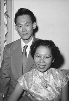 Portrait picture of Kwa Geok Choo (bottom right), with her husband, former Prime Minister of SIngapore, Lee Kuan Yew (left of photo).