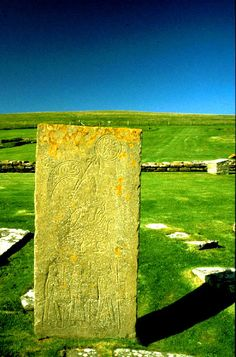 Pictish Symbol stone on The Brough of Birsay. Orkney, Scotland, photograph by by Peter Ward (The Picts were a tribal confederation of Celtic peoples during the Late Iron Age and Early Medieval periods living in eastern and northern Scotland)