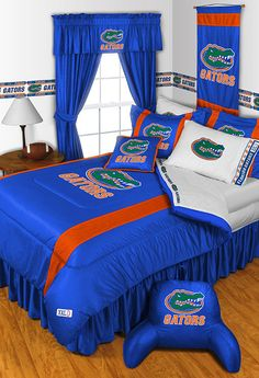 Florida Gators NCAA Sidelines Room Comforter and Sheet Set Size Queen…
