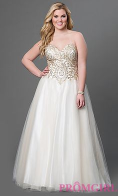 Strapless Ball Gown with Embellished Bodice by Sydney's Closet  at PromGirl.com