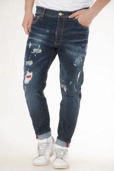 Παντελονι jean βρακα της Yes London με μπαλοματα σε blue-black αντρικό Yes London