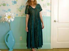 Vtg 90s Hunter Green Sheer Floral Lace Full Babydoll by LexAndLos, $38.00