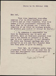 Lettre dactylographiée signée de Marcel Proust, Paris, le 21 février 1922.  «…
