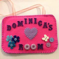 Customised door sign, bedroom door sign, door hanger, custom design, felt door hanger, felt sign, personalised plaque, door plaque
