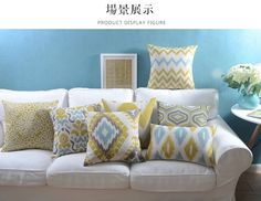 Wholesales Linen Pillow Cover Yellow Grey Cushion Cover Nordico Geometric Style Home Decorative Pillow Case 45x45cm/30x50cm