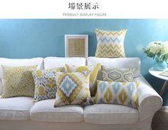 Wholesales Linen Pillow Cover Yellow Grey Cushion Cover Nordico Geometric Style Home Decorative Pillow Case 45x45cm/30x50cm