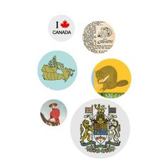 "Oh Canada… loved by all.  Features a selection of Canadiana buttons designed for both the tourist and the nationalist alike.  This Pack of Buttons contains 6 buttons of varying sizes and measures approximately 3"" x 6""."