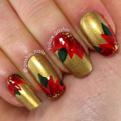 Christmas Poinsettias Nail Art Design on gold base. ✌Between Two Fir Trees | follow gashin.
