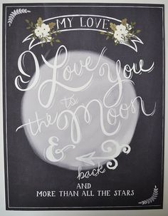 I love you to the moon and back wedding print 8.5 x 11