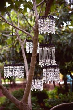 | You could make these, if you picked up some old chandeliers at a garage sale. Dishfunctional Designs: The Upcycled Garden - Spring 2015 |