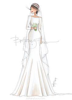 The Duchess of Sussex | Prince Harry | Meghan Markle | royal wedding | the royal family | London | Windsor | fashion illustration | weddings | Brittany Fuson