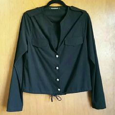 Black Halo Sueded Sweater NWOT Brand new, never worn. Long sleeve button down blouse that you can adjust with a string at the bottom. Great to wear with a tank top underneath for date night. Black Halo Sweaters