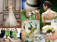 White & Green : PANTONE WEDDING Styleboard : The Dessy Group