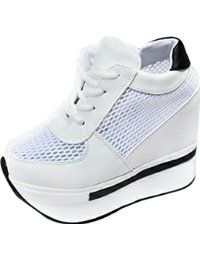 XRU Womens strappy round toe mesh on clearance platform shoes wedge PU thick-soled shoes White More Choices from $28.80