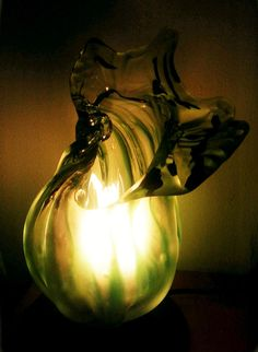 Frosted Green Conch Lamp by TheGlassBirdHouse on Etsy