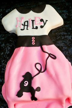 Great for a theme party Poodle Skirt Cake Pretty Cakes, Beautiful Cakes, Amazing Cakes, Crazy Cakes, Fancy Cakes, Sexy Cakes, Fondant Cakes, Cupcake Cakes, Cupcakes