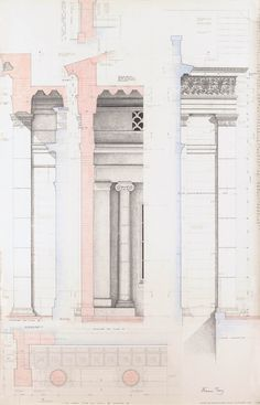 Working drawing of Portico, Drawn by Francis Terry and Harry Clover. Pen and ink Random Drawings, Working Drawing, Amazons, Sketchbooks, Diagram, Ink, Architecture, Image, Design