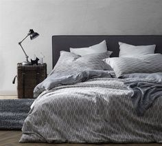 A simple, trellis pattern brings timeless style to the Mattina Duvet Set by Byourbed . This gray and white duvet set is designed to slide over your. Luxury Duvet Covers, Luxury Bedding Sets, Bed Duvet Covers, Comforter Sets, Duvet Cover Sets, Modern Bedding, Modern Bedroom, Grey Comforter, Twin Xl Bedding