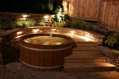 Turn your garden into a relaxing getaway with a cedar hot tub. Our tubs are ma, Turn your garden into a relaxing getaway with a cedar hot tub. Our tubs are ma . Hot Tub Deck, Hot Tub Backyard, Backyard Patio, Backyard Landscaping, Jacuzzi Outdoor Hot Tubs, Sloped Backyard, Backyard Designs, Landscaping Ideas, Backyard Ideas