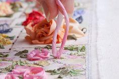 I ❤ ribbon embroidery . . . Twirled Ribbon Rose Step 5 ~By Di Van Niekerk