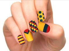 Nail art designs inspired in the World Cup 2014: Colombia