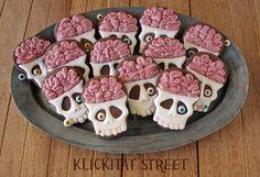 tutorial / recipe: Brainy Skull Cookies