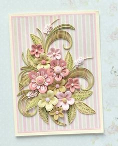 Quilling Card with delicate stylized Spring flowers - Birthday quilling Card - Spring flowers - QuillyVicky Quilling Flowers Tutorial, Paper Quilling Patterns, Quilling Paper Craft, Quilling Cards, Quilling Designs, Paper Crafts, Paper Quilling For Beginners, Quilling Techniques, Quilling Work