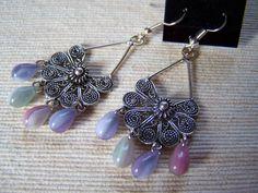 Multi Pastel Czech Glass Drop Chandelier Earrings