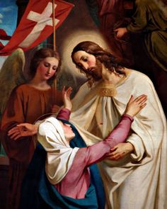 Christ Appears to His Mother - Melchior-Paul von Deschwanden Religious Pictures, Jesus Pictures, Blessed Mother Mary, Blessed Virgin Mary, Mother Mother, Catholic Art, Religious Art, Catholic Prayers, Roman Catholic