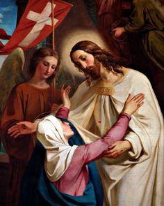 Christ Appears to His Mother - Melchior-Paul von Deschwanden Catholic Art, Roman Catholic, Religious Art, Catholic Prayers, Religious Pictures, Jesus Pictures, Blessed Mother Mary, Blessed Virgin Mary, Mother Mother