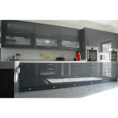 This Wickes Sofia Graphite Kitchens High Gloss Dark Grey Units - Dark grey gloss kitchen