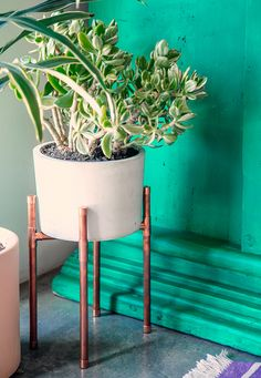 Plantenpot op koperen pootjes in urban jungle interieur via The Bungalow