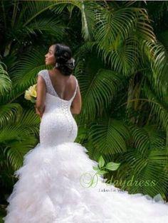 772cc05d8dc0 QQ Lover Arabic Style Plus Size Wedding Dress 2017 Deep V Neck Beading  Layer Mermaid Wedding Chapel Train Beach Bridal Dress in 2019 | Ankara  styles | Beach ...
