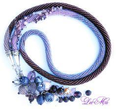 Bead Crochet Necklace Amethystine by LeeMarina on Etsy, Bead Jewellery, Jewelry Art, Beaded Jewelry, Beaded Bracelets, Necklaces, Bead Crochet Patterns, Bead Crochet Rope, Beaded Crochet, Lariat Necklace