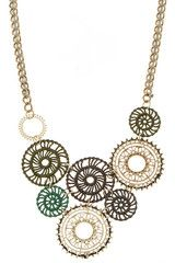 Olive Disc Statement Necklace