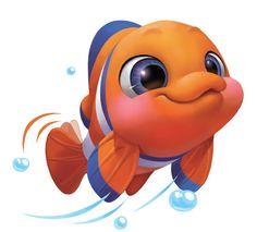 Cartoon Drawings, Animal Drawings, Cartoon Art, Cute Cartoon Fish, Fish Illustration, Character Illustration, Game Character Design, 3d Character, Stoff Design