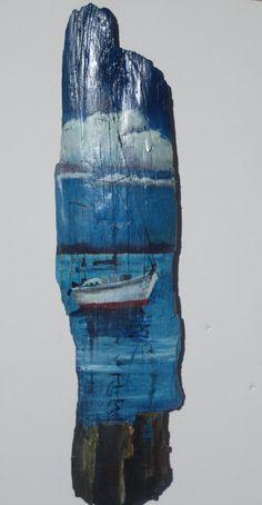 My friend MaryAnn painted this sailboat on driftwood!  Anchored Sail Boat by MaryAnnBlosser on Etsy, $22.00