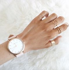 Fifth customer Steph wearing her Rose-Gold & Peach timepiece with stacked rings. The Fifth Watches // Minimal meets classic design: www.thefifthwatches.com